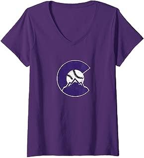 Womens Colorado Rocky Mountain Baseball Sports Team V-Neck T-Shirt