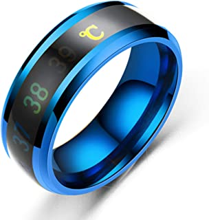 kimairy Men Flash Ring, Temperature Monitor Sensor Smart Wedding Band Ring Intelligent Digital Body Tungsten Wedding Men &...