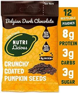 Nutrilicious Semillas de Calabaza de Chocolate Negro - Keto, Ricas en Proteínas Bajos en Carbohidratos, Menos Azúcar, Rica...