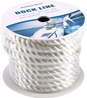 Amarine-made 5/8 inch 50 feet 3 Strand Twisted Nylon Rope Dockline Multipurpose Utility Line - Alkali, Chemical, and Weather Resistant - Crafts, Towing, Dock Line, Color: Black, White