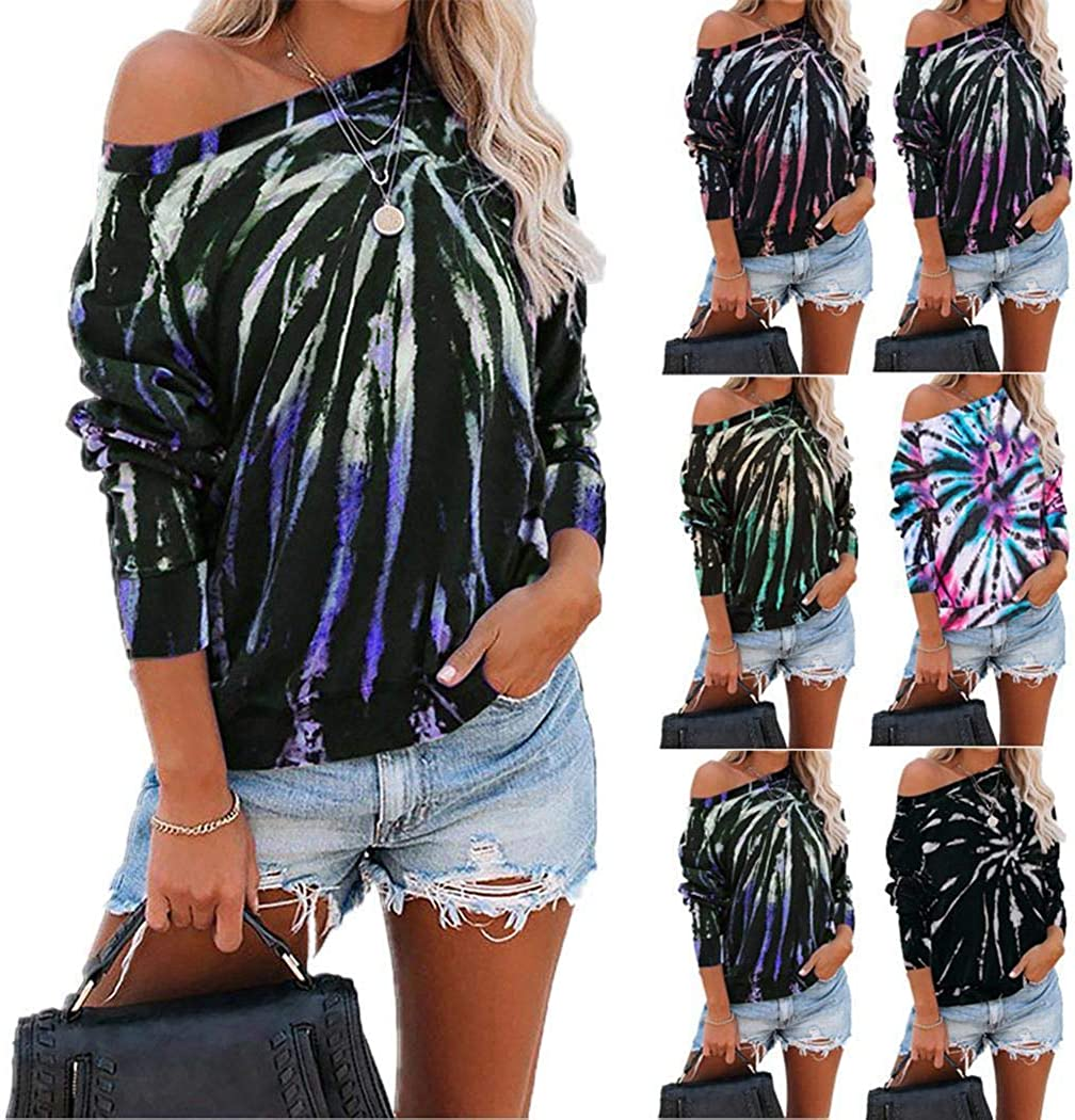SUPRIQLO Womens Off The Shoulder Tie Dye Print Sweatshirt Long Sleeve Casual Loose Pullover Tops T-Shirt Tunic M-XXXL