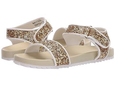 crewcuts by J.Crew Velcro Glitter Slide Sandal (Toddler/Little Kid/Big Kid) (Glitter Gold/Silver) Girl