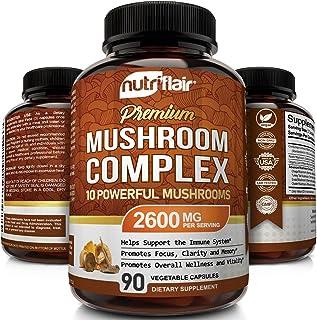 NutriFlair Mushroom Supplement 2600mg - 90 Capsules - 10 Mushrooms - Reishi, Lions Mane, Cordyceps, Chaga, Turkey Tail, Ma...