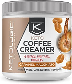 KetoLogic Keto Coffee Creamer with MCT Oil Powder, Caramel Macchiato | for Sustained Energy & Appetite Control | Low-Carb, Paleo Friendly & Keto Approved | 30 Servings