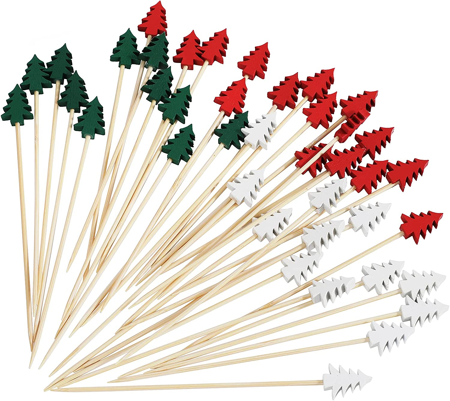 OOTSR Pack of 100 Wooden Christmas Tree Shape Cocktail Picks, Cocktail Picks 5.2 Inch Sandwich Fruit Sticks Pearl Bamboo Toothpicks for Party Appetizer Supplies Decorative
