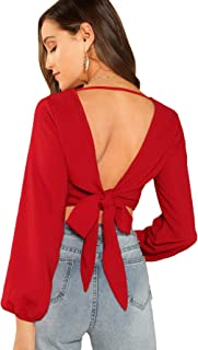 SweatyRocks Women's Sexy V Neck Tie Back Casual Long Sleeve Crop Top Blouse
