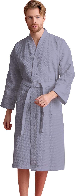 Men's Waffle Spa Bathrobe with 100% Cotton. Long, Lightweight Men Robes, Absorbent