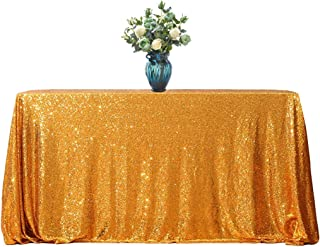 Sequin Tablecloth Table Cloths for Party Wedding Birthday Cake Table Decorations, Gold, 60 inches x 102 inches Rectangle