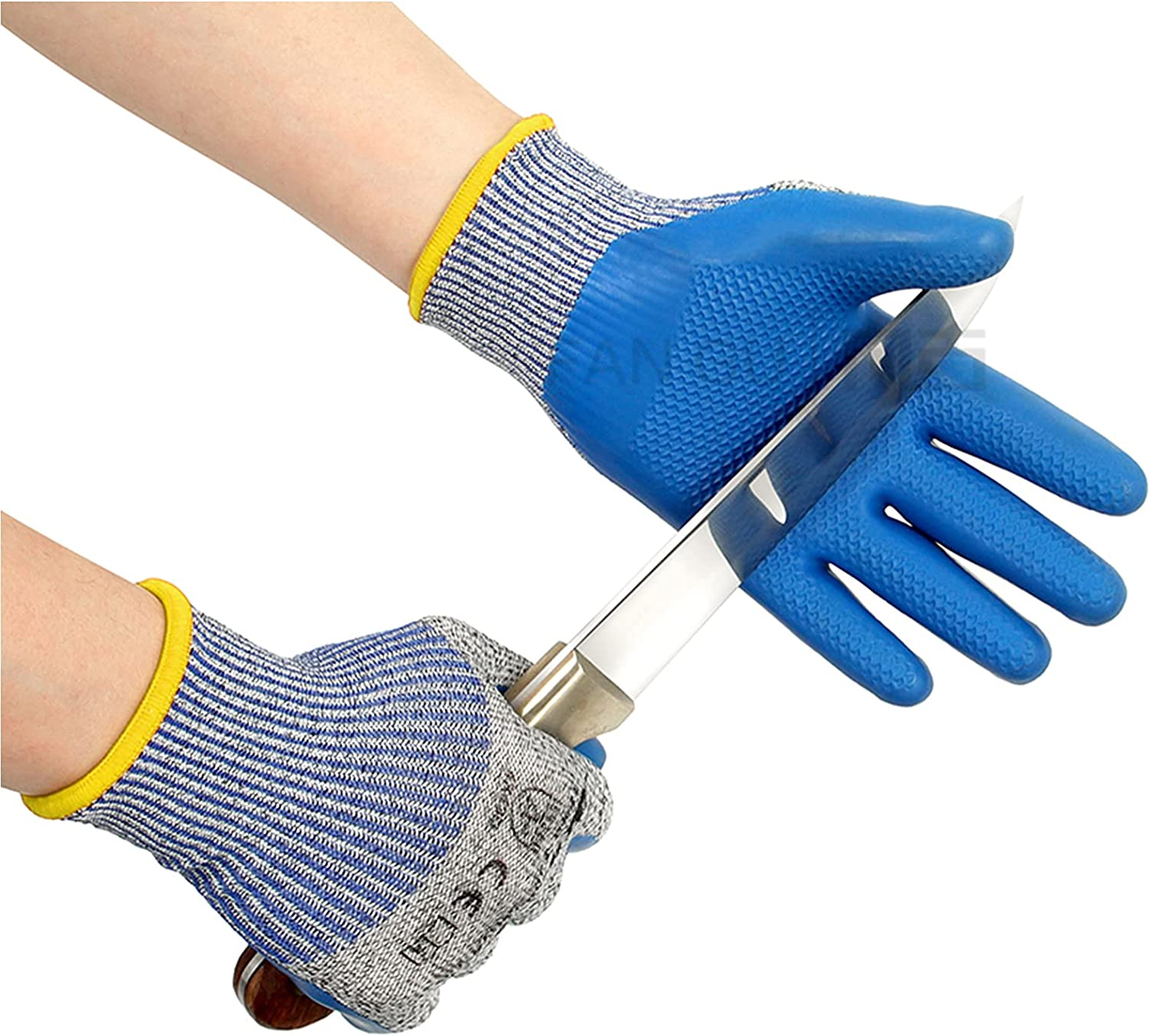 Double Cut Resistant Gloves Level 5 Protection,Latex Coated Semi-Waterproof Cutting Gloves ,Safety Cut Glove for Kitchen