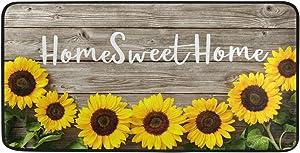 Sunflower Kitchen Rug Floor Mat Washable - Home Sweet Home Kitchen Mats for Floor Anti Fatigue Cushion Comfort Mat for Kitchen