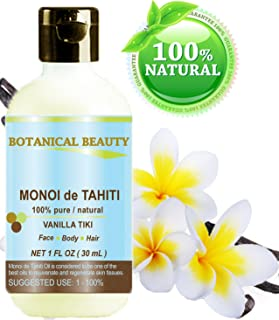 MONOI DE TAHITI Oil VANILLA TIKI 100% Pure / Natural / Undiluted / Virgin / Polynesia Original Guarantee. 1 fl.oz.- 30 ml. For Face, Hair and Body. by Botanical Beauty