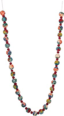 """Creative Co-Op 72"""" String Wrapped Wool Felt Ball Garland, Multicolor"""