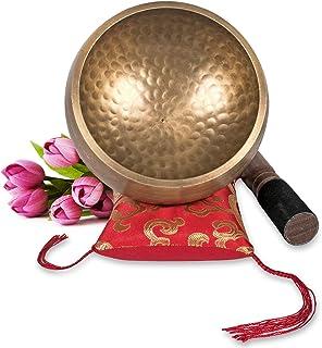 Tibetan Singing Bowl Set ~ Maha Bodhi 4.5 Inch Wide Authentic Meditation Gong for Relaxation, Chakra Healing, Stress Reduc...