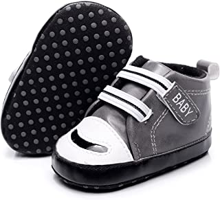 Baby Girl Boy Sneakers Infant Letter Print Anti-Slip PU Leather Shoes Prewalker Gym Shoes 0-18 (Baby Age : 0-6 Months, Col...