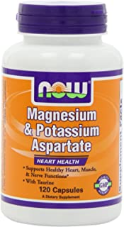 NOW Magnesium and Potassium Aspartate W/ Taurine, 120 Capsules (Pack of 2)