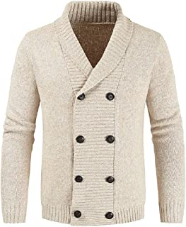 Howely Men Cardigan Fall Winter Double Breasted Plus-Size Pullover Top Blouse