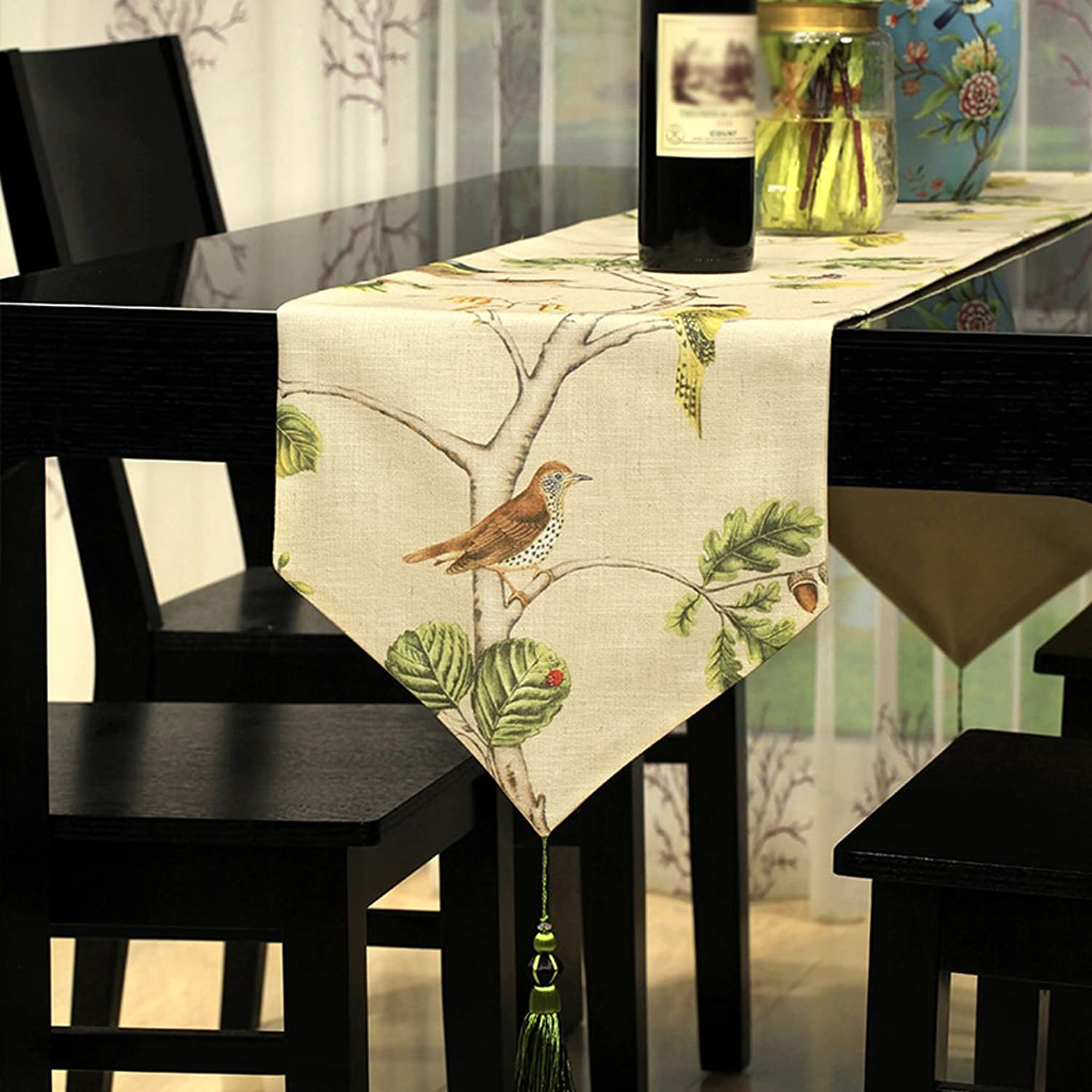 TABLE RUNNER Linen fabric printing Table flag Cloth decoration luxurious table cloth classic Wild Table mats coffee table decoration Home furnishings Bed towel Beige