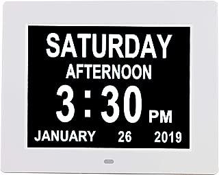 [Newest Version] Digital Day Calendar Alarm Clock- 8 Alarms,Non-Abbreviated Day & Month Memory Loss,Dementia,Alzheimer's Vision Impaired Clock for Elderly/Seniors (8'' White)