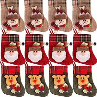 PartyBus 6 Inch Mini Christmas Stockings 12 Pack, 3D Rustic Burlap Plaid Jingle Bell Xmas Tree Decorations, Gift Card Hold...