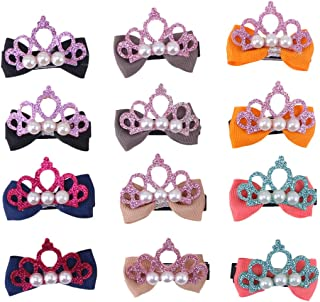 6 Pair Girls Crown Hair Bows Grosgrain Ribbon Boutique Bows Clip Bow Tie Lovely Colorful Barrettes Hairpins Hair Accessories for Kids (Orange + Gray + Navy + Red + Khaki + Black)