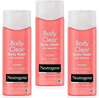 Neutrogena Body Clear Acne Treatment Body Wash with Salicylic Acid Acne Medicine to Prevent Body Breakouts, Pink Grapefruit Salicylic Acid Acne Body Wash for Back Chest & Shoulders, 8.5 fl.oz (3 Pack)