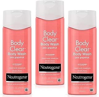 Neutrogena Body Clear Acne Treatment Body Wash with Salicylic Acid Acne Medicine to Prevent Body Breakouts, Pink Grapefruit Salicylic Acid Acne Body Wash for Back Chest & Shoulders, 8.5 fl.oz (3 Pack)