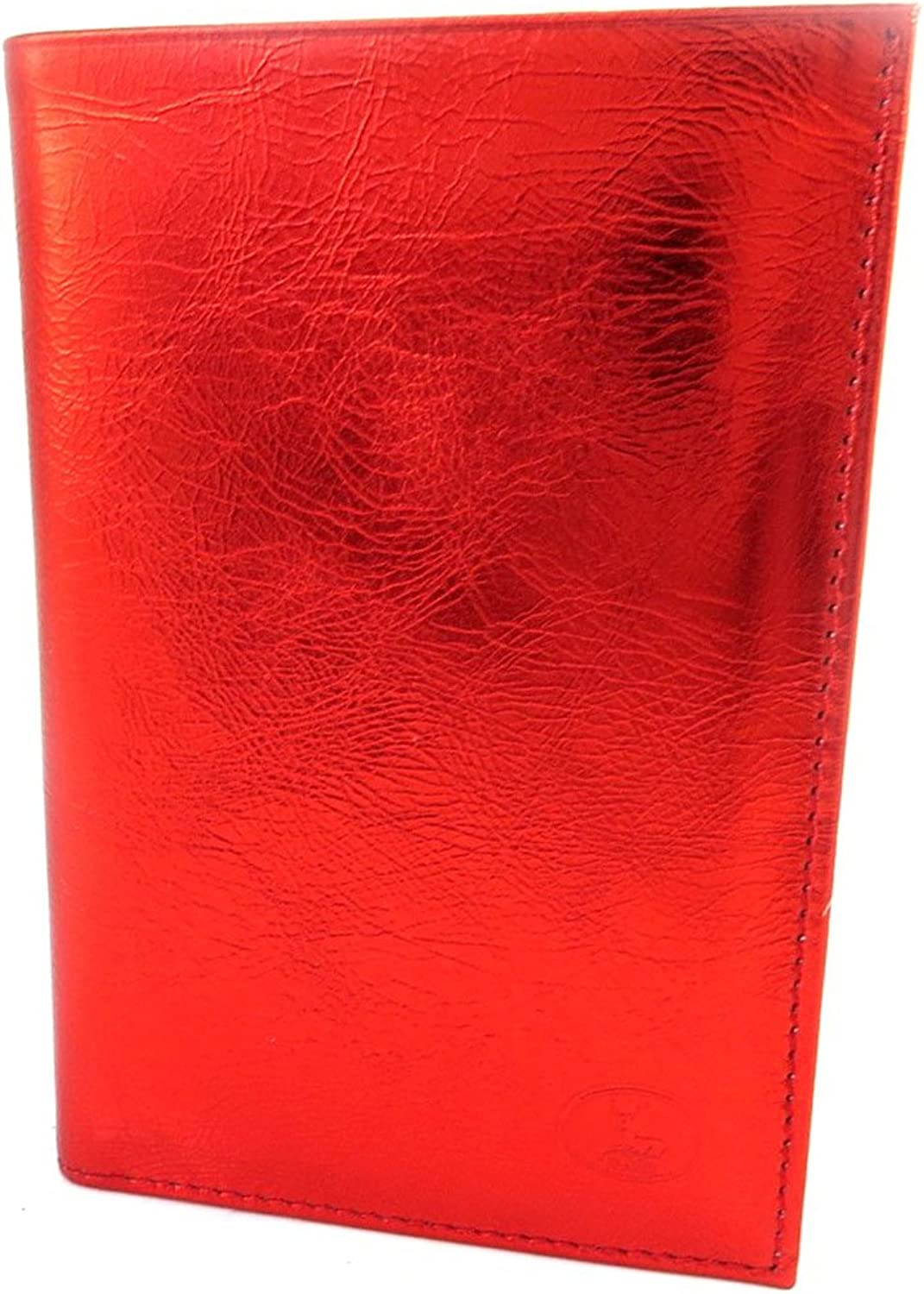 Leather wallet 'Frandi' red metal (+ cards).