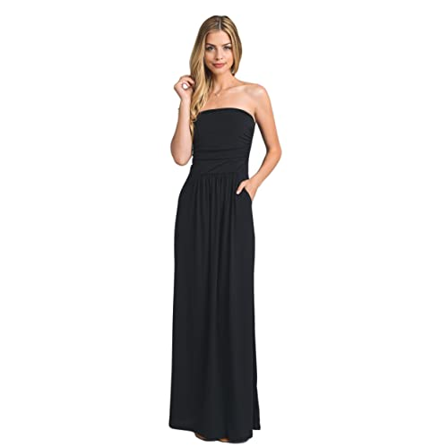 1e2fcf62de0 Vanilla Bay Women s Strapless Full Length Maxi Dress with Pockets