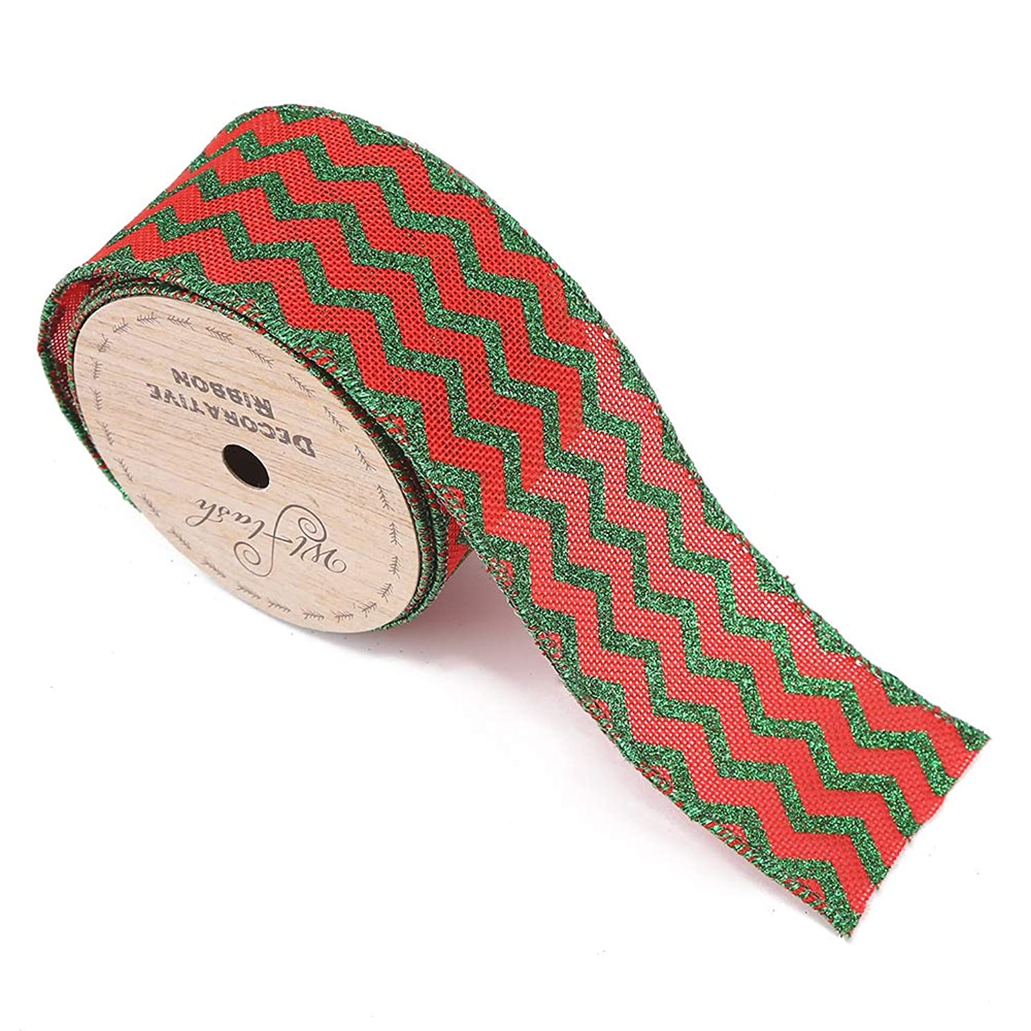 Wired Edge Craft Ribbon 2-1/2-Inch Wide by 10 Yard Spool Christmas Decorative Gift and Tree Wired Ribbon (Red Green Satin)