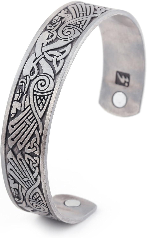 My Shape Health Care Pulsera magnética de cuervo vikingo brazalete irlandés con nudo de pájaros talismán pagano joyería