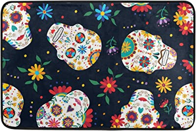 MASSIKOA Day of The Dead Floral Skull Non Slip Backing Entrance Mat Floor Mat Rug Indoor Outdoor Front Door Bathroom Mats 23.6 x 15.7 inch
