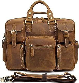 Men's Shoulder Bag Leather Men's Bag Vintage Crazy Horse Leather Tote Bag Men's Multi Pocket Tote Bag (Color : Brass)