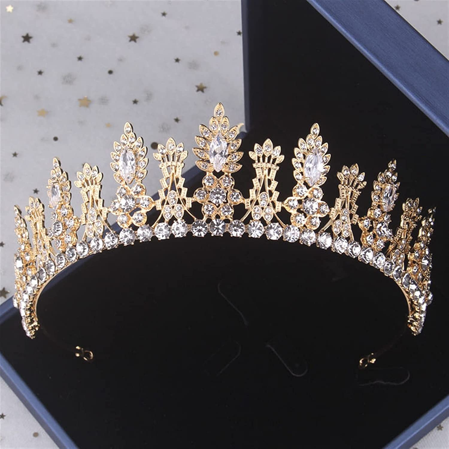 YUANBOO Baroque Vintage Gold Crystal Leaf Bridal Jewelry Sets Rhinestone Wedding Crown Tiara Earrings Necklace African Beads Jewelry Set (Metal Color : 1Pcs Crown)