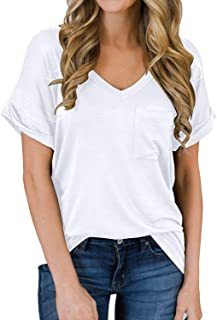 Choha Women Short Sleeve Shirts Casual V Neck Loose Fitting Tops with Front Pocket