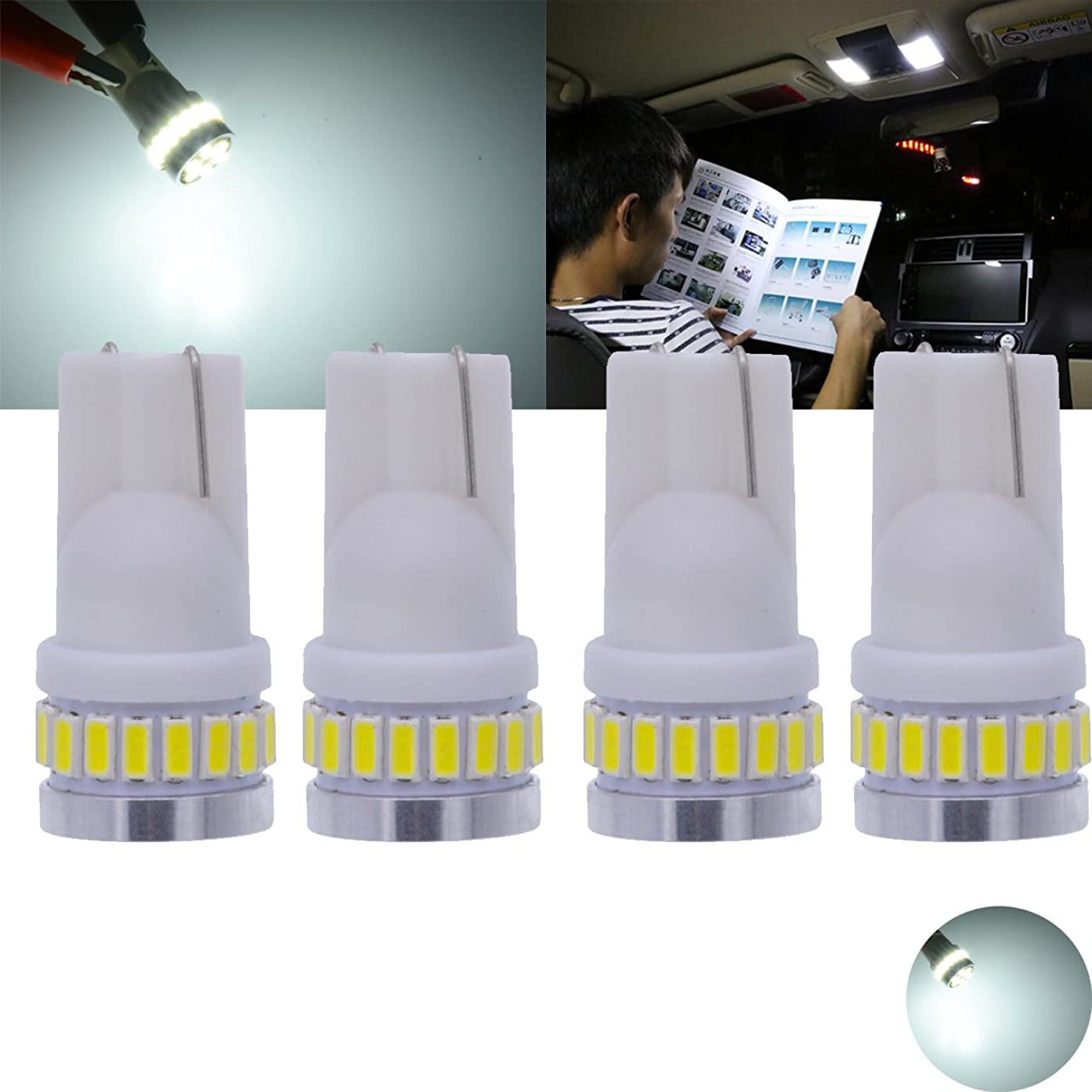 TUINCYN T10 194 LED Bulb White Super Bright 6000K 24SMD 3014 Chipsets 168 175 921 912 2825 W5W 175 158 Car Interior Light Dome Map Lamp License Plate Light Side Markers Light Bulb, 12V(4pcs)