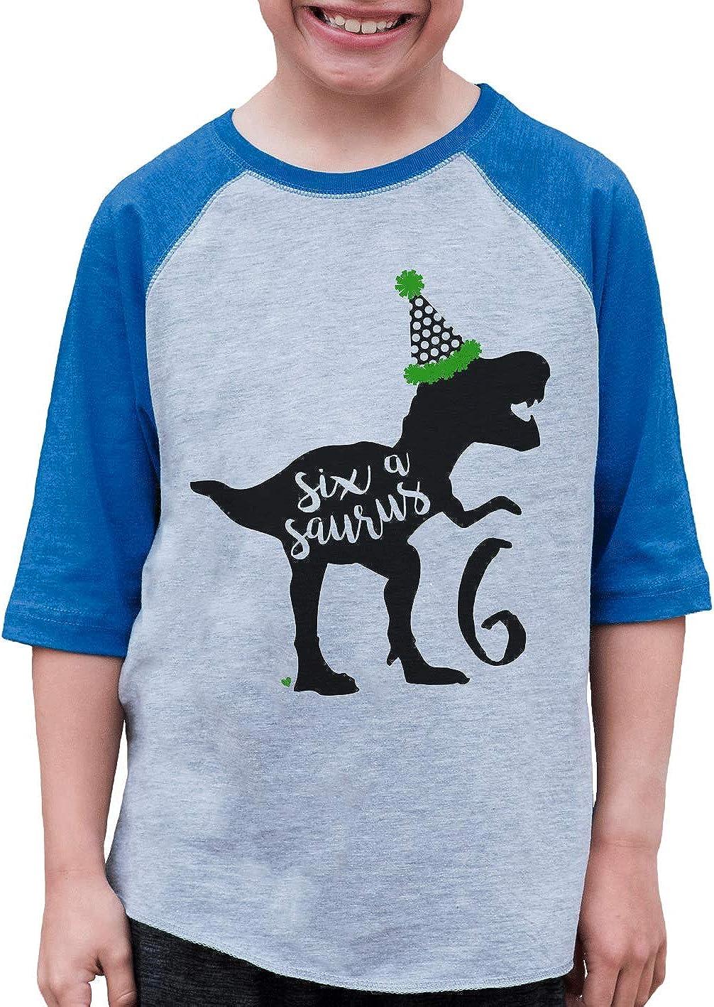 7 ate 9 Apparel Kid's Six 6 Sixth 6th Dinosaur Dino Birthday Blue Raglan Tee