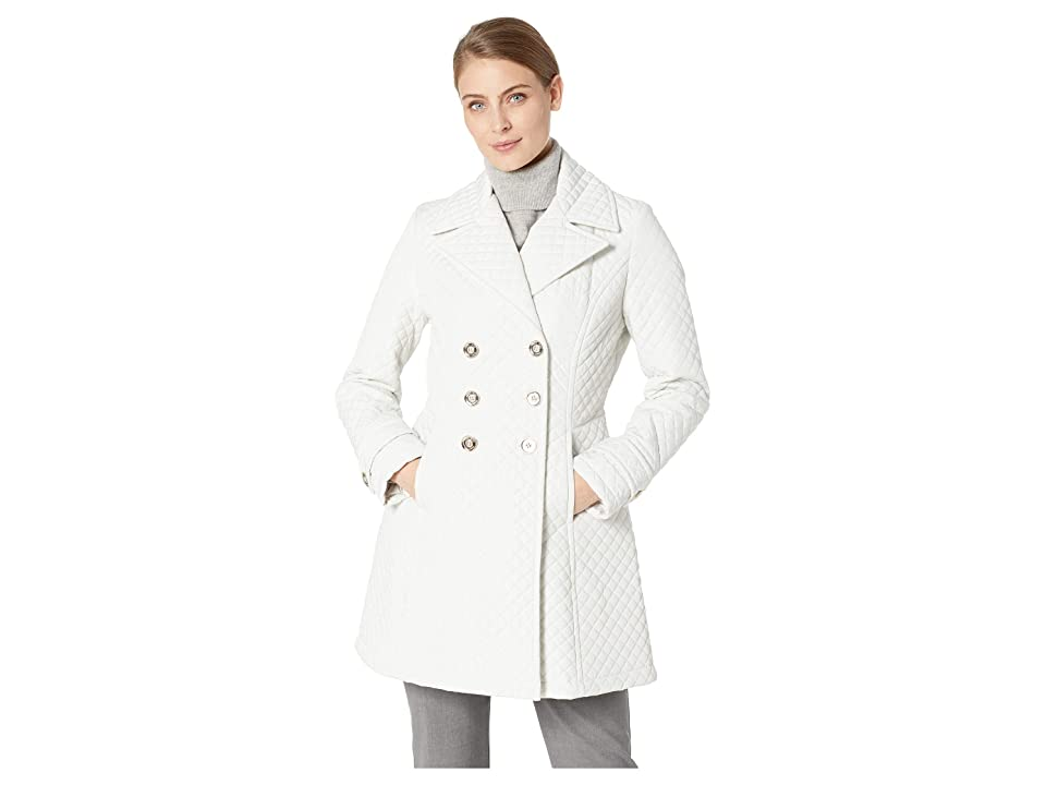 Ivanka Trump Double Breasted Button Quilt Jacket (Pearl) Women