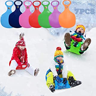 Snow Sled,7X Snow Racers for Sledding Plastic Skis Thicken Sledge Ski Glider Slider Snowboard with Handle Play on Ice Sno...