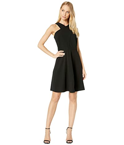 Sam Edelman Crisscross Neck A-Line Dress (Black) Women