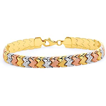 6 Wellingsale 14k Yellow Gold Polished 3mm Heart ID Concave Curb Bracelet with Lobster Claw Clasp