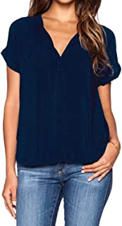 roswear Women's Chiffon Blouse V Neck Short Sleeve Top Shirts