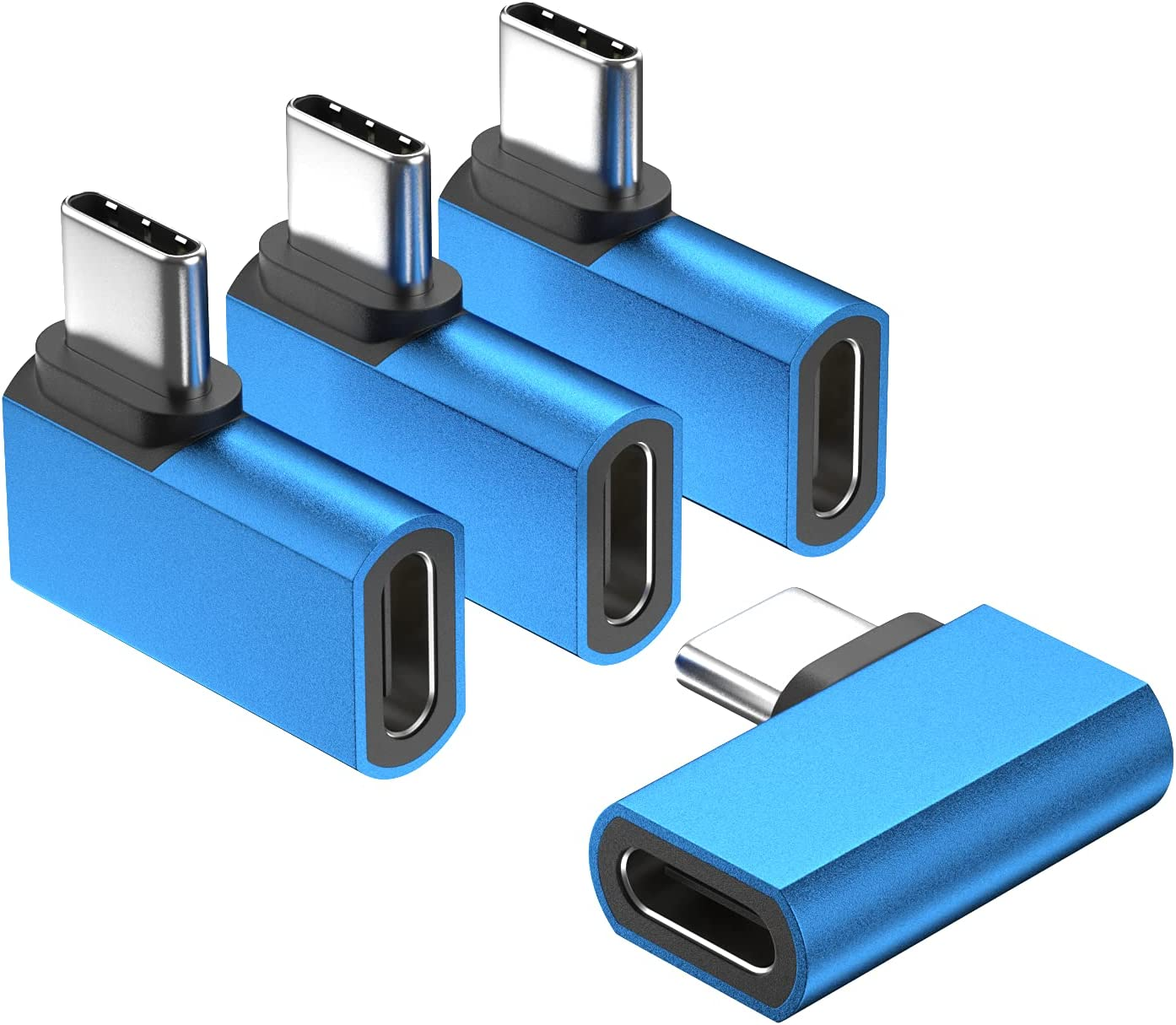 Right Angle USB C Extension Adapter, UseBean(4-Pack) PD 100W 90 Degree USB Type C 3.1 Gen2 Male to Female Extender,Aluminum Alloy USB-C Extended Converter,for Lifeproof Otterbox Case,MacBook Pro,More
