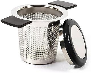 Filtro para té ReaLink de Acero Inoxidable, infusor de té, colador de té con Agujero, asa de Silicona y Tapa para tazón, Taza, Tetera o Hierbas aromáticas de Cocina.