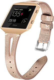 Compatible Fitbit Blaze Band, Leather Band with Metal Frame Women Men