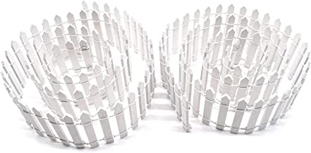 AUEAR, 2 Pcs 40 Inch Length Miniature Fairy Garden Ornament Fence White Wood Picket Fence DIY Crafts