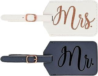 """MIAMICA Miamica""""Mr."""" and""""Mrs."""" Bridal Luggage Tags, Gray & White (Gray) - M31151"""