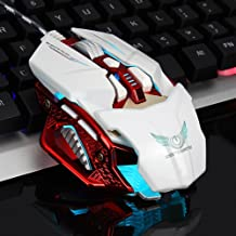 Color : Ivory White+Exclusive Color Box Huangyongchun Wired Mouse 4 Adjustable DPI Levels 800//1200//1600//2400DPI LED 7 Circular /& Breathing LED Light 6 Buttons Good Feel