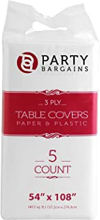 "Party Bargains Disposable Table Cover | Classic White Paper 3 Ply Premium & Elegant Plastic Table Covers - Size 54"" X 108""..."