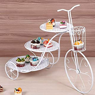 3-Tier Bike Shape Cake Stand Potted Plant Stand Wedding Birthday Party Display Retro Bicycle Styling Dessert Cupcake Holder Tower Gold/White Color USA STOCK (White)