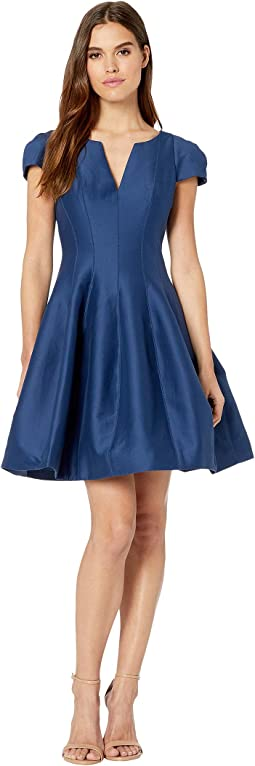 Short Sleeve Notch Neck Dress w/ Tulip Skirt